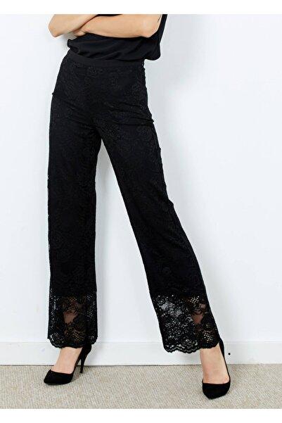 Adze Kadın Siyah Güpürlü Yan Fermuarlı Pantalon Siyah 38