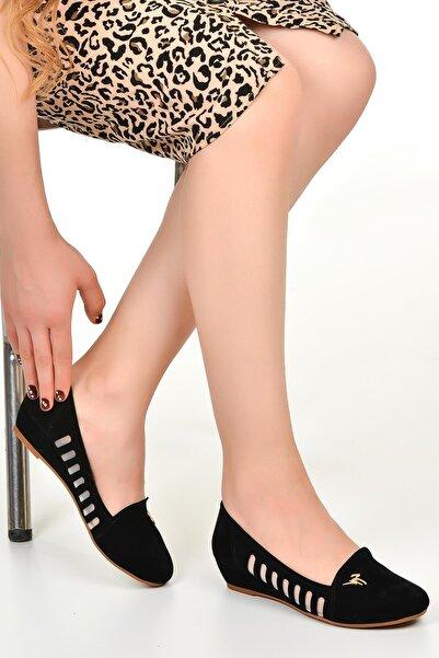Alens 8123 Siyah 3 Cm Topuk Bayan Süet Babet Ayakkabı