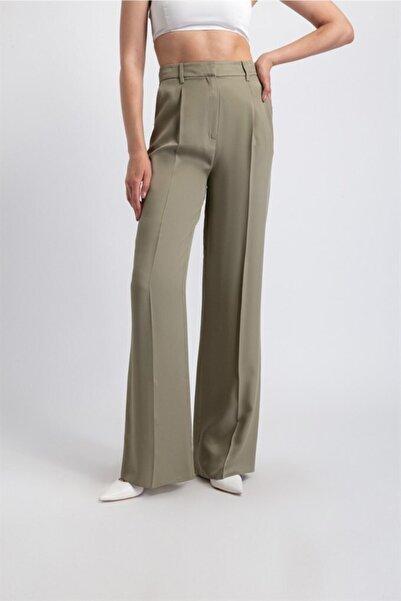 rue. Bol Form, Pileli Şık Pantolon Haki