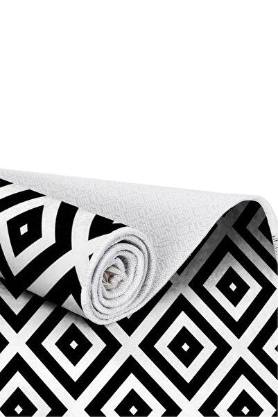 EXCLUSIVE Toprak Dijital Halı Saçaklı Sarah Geometrik Siyah Beyaz