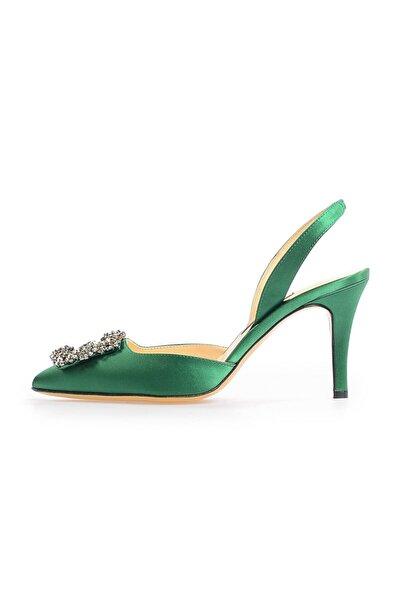 Flower Yeşil Saten Kare Tokalı Topuklu Ayakkabı