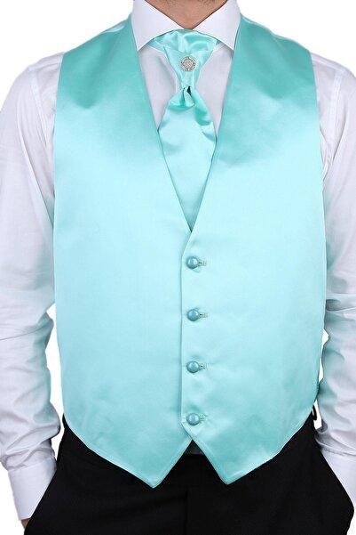 Kravatkolik Erkek Su Yeşili Renk Damat Yeleği Ylk05