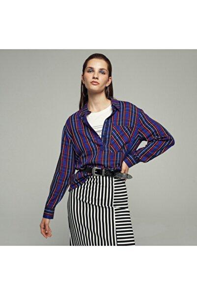 Mudo Cep Detaylı Ekose Bluz