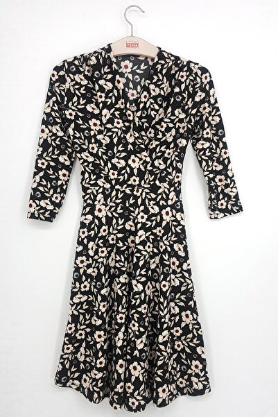 TENA MODA Kadın Siyah-bej Örme Crep Kruvaze Elbise
