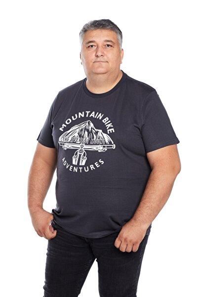 The Everest Mount Büyük Beden Erkek Antrasit Bisiklet Yaka Outdoor Baskılı Mountain Bike T-shirt