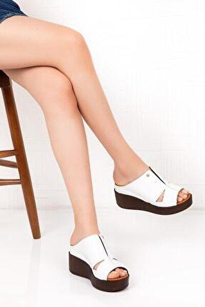 Hakiki Deri Kadın Dolgu Topuk Terlik - Beyaz C1407b
