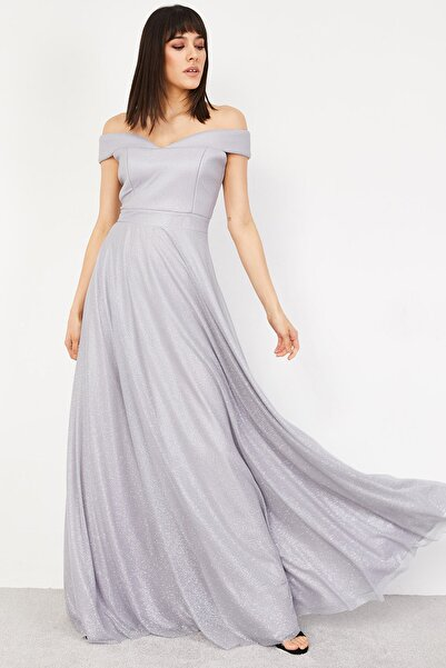 Lafaba Kadın Gri Abiye Elbise
