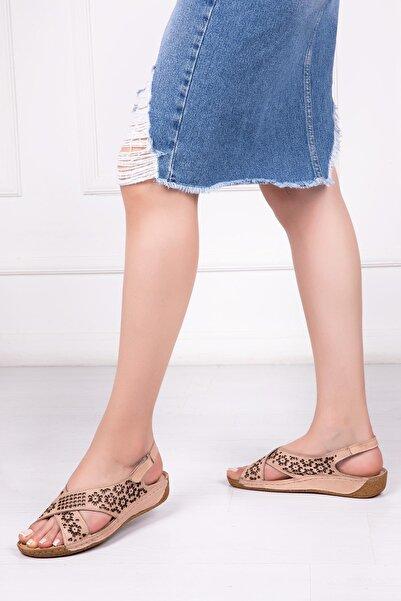Deripabuc Hakiki Deri Bej Kadın Deri Sandalet Dp16-0405