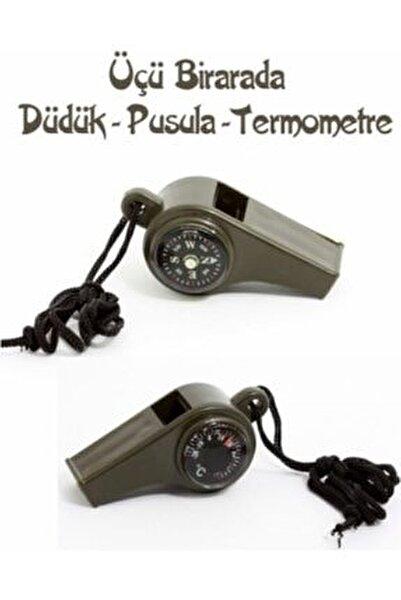 Pusulalı Termometreli Düdük - Survival Askılı Düdük