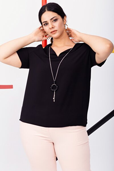 Lafaba Kadın Siyah Kısa Kollu Desenli Büyük Beden Şifon Bluz