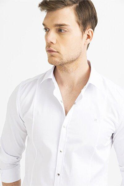 Avva Erkek Beyaz Düz Klasik Yaka Slim Fit Gömlek B002217