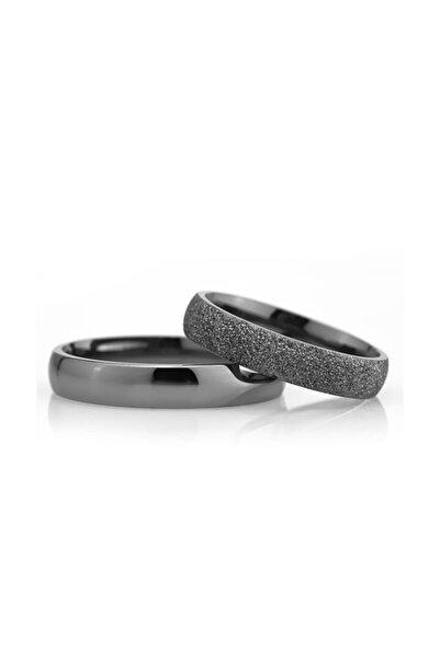 Gümüşcüm Kadın  Siyah  4mm Gümüş Alyans Söz Ve Nişan Yüzüğü