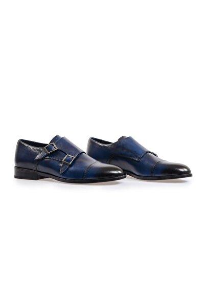 Flower Lacivert Çift Tokalı Klasik Ayakkabı