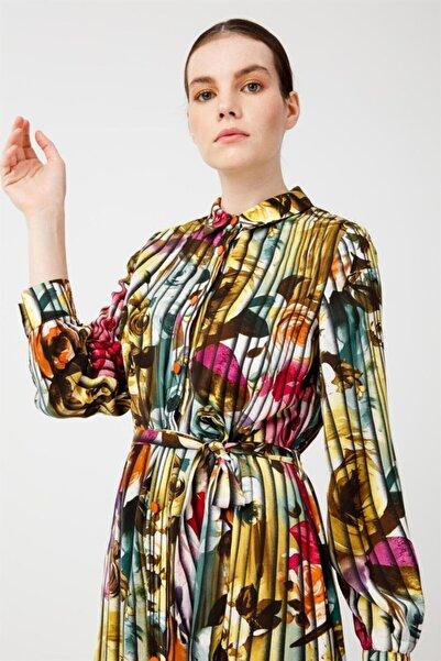 Ghisa Baskılı Elbise Renkli Çiçekli