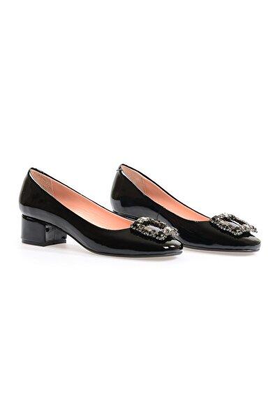 Flower Siyah Taşlı Abiye Ayakkabı