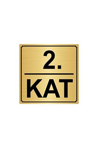 Artı 2.kat Metal Yönlendirme Levhası 20cmx20cm Altın Renk