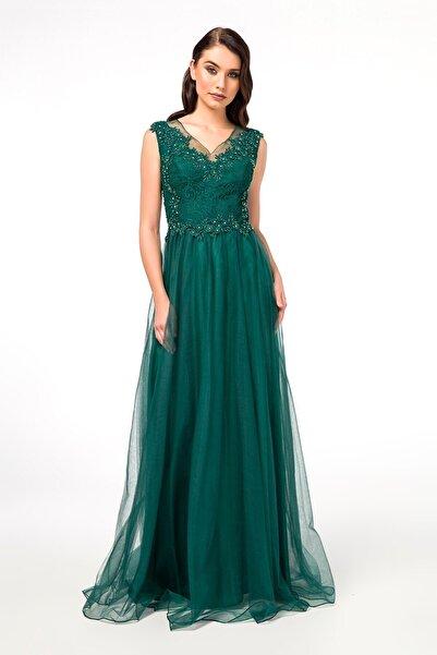 Abiye Sarayı Yeşil Güpürlü Sırt Detaylı Uzun Abiye Elbise