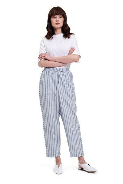 Mizalle Çizgili Parça Detaylı Pantolon (Açık Mavi)