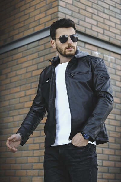 Oksit Tuci Cesar Slim Fit Kapüşonlu Deri Ceket