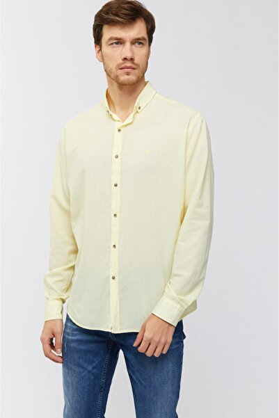 Avva Erkek Sarı Düz Düğmeli Yaka Slim Fit Uzun Kol Vual Gömlek A91s2206