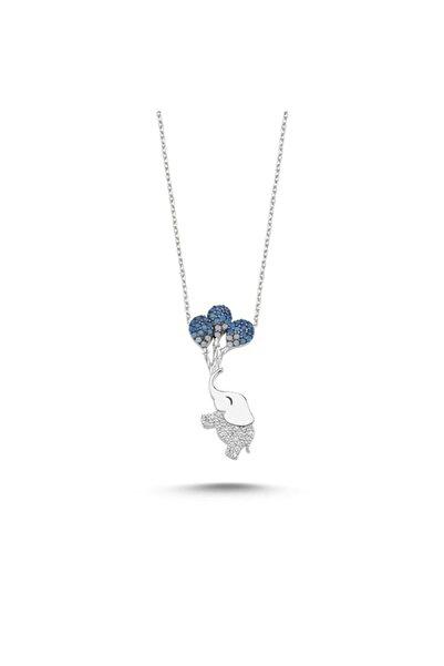 Zuk Collection Gümüş Fil Kolye Rodyum Kaplama Mavi Balon Kolye
