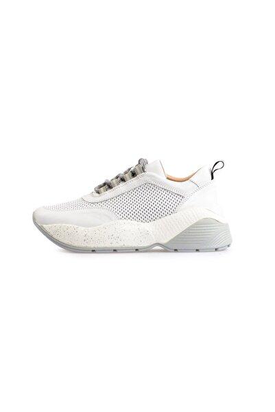 Flower Beyaz Yüksek Tabanlı Bağcıklı Spor Ayakkabı