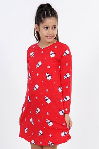 VİENETTA Kız Çocuk P.suprem Uzun Kol 9-16 Yaş Beden Baskılı Desen Kırmızı Tunik