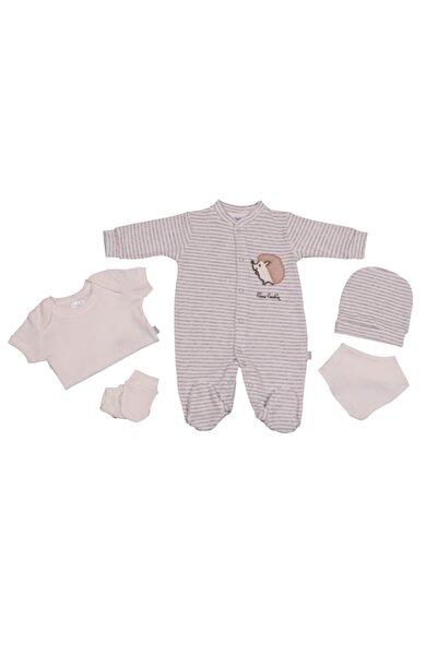 Pierre Cardin Baby Pierre Cardin Kirpi Desenli 5 Parça Yenidoğan Tulumlu Bebek Seti