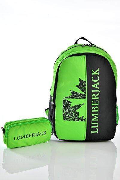 lumberjack 9457 Okul Sırt Çantası Kalemlikli Set Yeşil