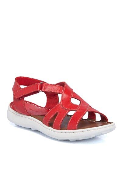 Tergan Kırmızı Deri Kadın Sandalet 64340a30