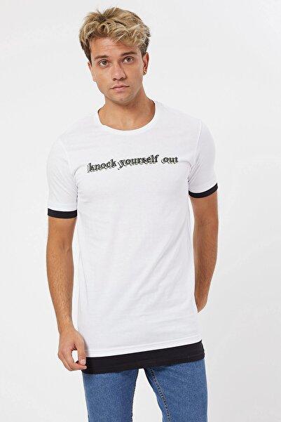 Karpefingo Erkek Baskılı Beyaz T-shirt