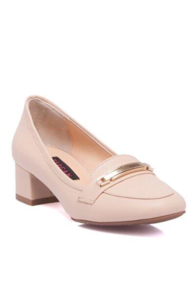 Tergan Bej Deri Kadın Ayakkabı 64209b19