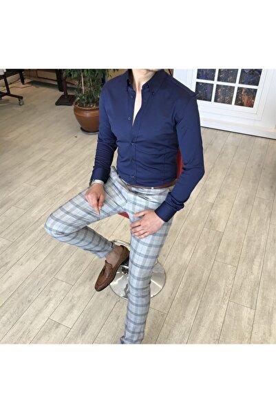 TerziAdemAltun Italyan Stil Slim Fit Dik Yaka Saten Erkek Gömlek Lacivert T4741