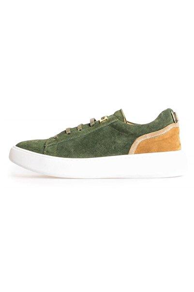 Flower Yeşil Süet Kombin Bağcıklı Sneakers
