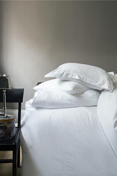 İssimo Home Whıte Serıes Yollu Saten Yastık Kılıfı 50*70+5 Cm.(2 Pcs)