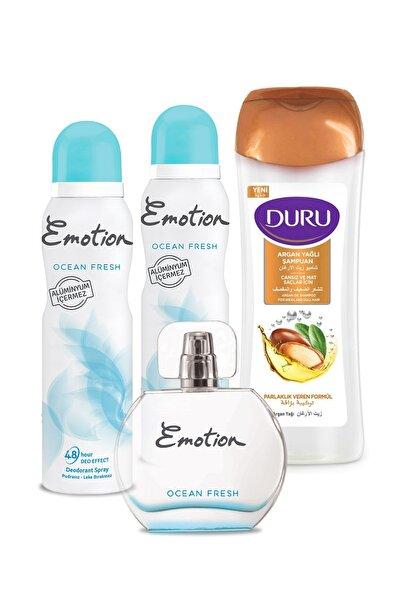 Emotion Ocean Edt Fresh 50ml Ve Deodorant 2x150ml Duru Argan Yağlı Şampuan 600ml