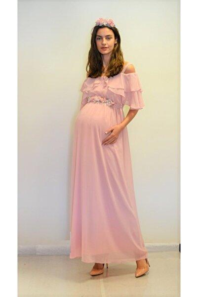 Entarim Hamile Baby Shower Elbisesi Maxi 6021düz-0