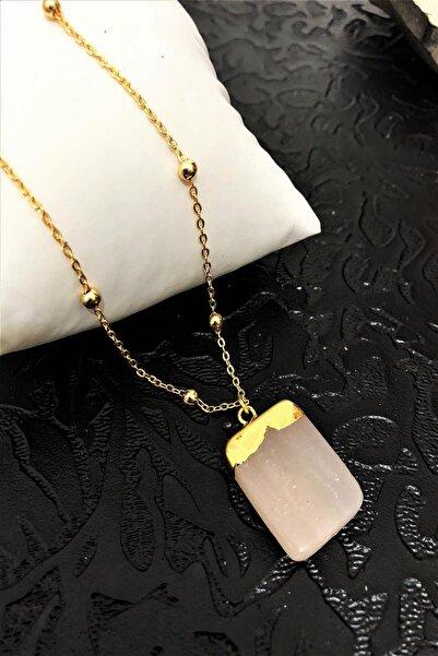 Dr. Stone Dr Stone Golden Pembe Kuvars Taşı 22k Altın Kaplama El Yapımı Kadın Kolye Tkrb13