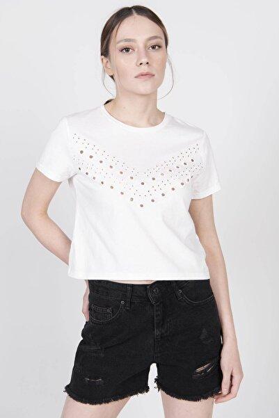 Addax Kuşgözü Detaylı T-shirt P12122 - T6