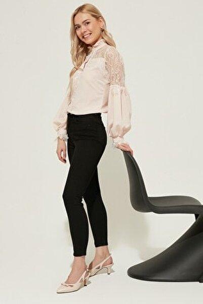 Kadın Yüksek Bel Skinny Jeans Siyah