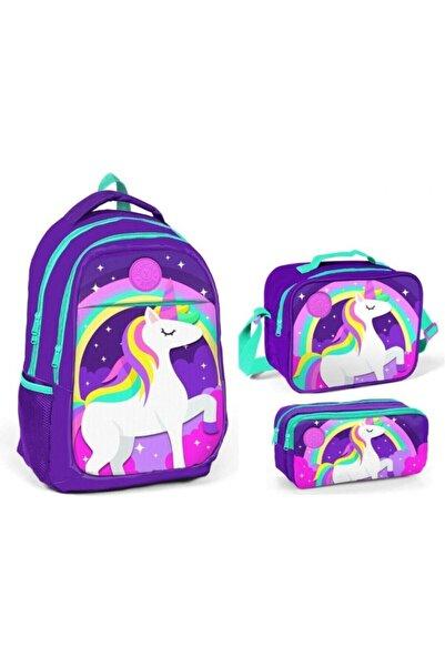 Yaygan Çanta Yaygan Kids Unicorn Baskılı Mor Ilkokul Ve Ortaokul Çanta Seti