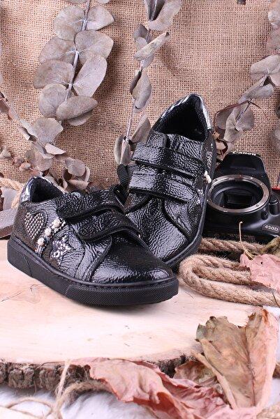 Akıllı Şirin Taş Işlemeli Inci Döşeli Cırtlı Kız Çocuk Vans Ayakkabı Siyah