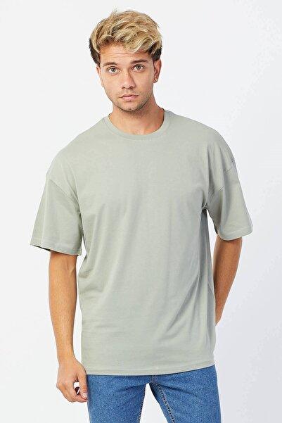 Karpefingo Erkek Oversize Basic Su Yeşili T-shirt