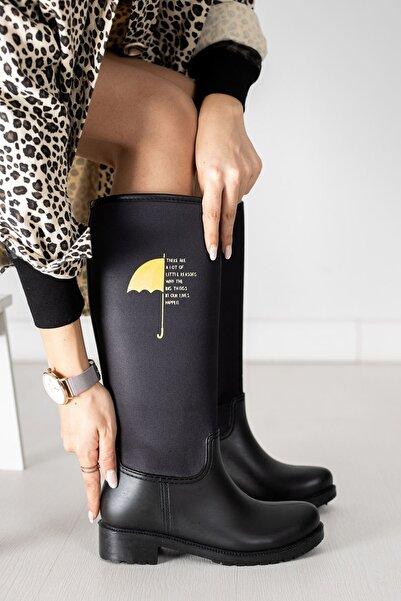 Papuçlarım Şemsiye Baskılı Kadın Yağmur Çizmesi