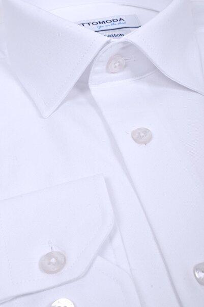 Ottomoda Cepli Uzun Kollu %100 Pamuk Beyaz Klasik Gömlek