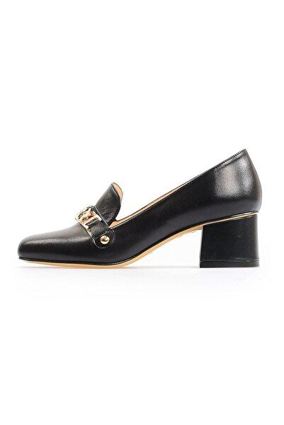 Flower Siyah Metis Tokalı Kadın Topuklu Ayakkabı