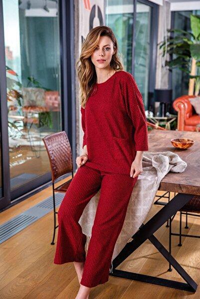 Anıl 9634 Kadın Pijamasıfır Yaka Üst Pantolon 2'li Takım