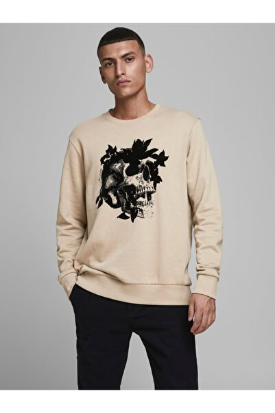 Jack & Jones Jack Jones Van Sweat Crew Neck Blk Erkek Bej Sweatshirt 12180292-06