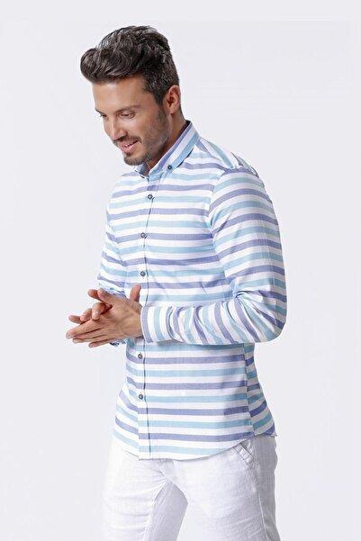 Ottomoda Uzun Kollu Çizgili Casual Erkek Gömlek Byz-mavi-yesil