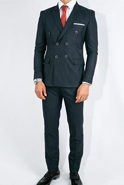 Suitmen Ince Çizgili Slim Fit Kruvaze Takım Elbise Koyu Lacivert
